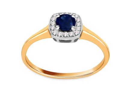 Gold Engagement Ring with Sapphire and Diamonds 0.070 ct Daviena