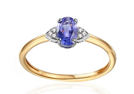 Gold Engagement Ring with Tanzanite and Diamonds 0.020 ct Chattie 4