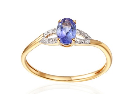 Gold Engagement Ring with Tanzanite and Diamonds 0.030 ct Kassia 4