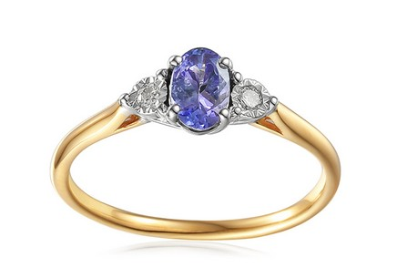 Gold Engagement Ring with Tanzanite and Diamonds 0.070 ct Stenya 4