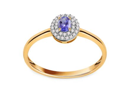 Gold Engagement Ring with Tanzanite and Diamonds 0.100 ct Laurissa 2