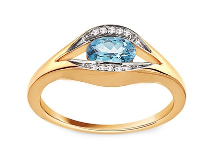 Gold Engagement Ring with Topaz and Diamonds 0.020 ct Eulalie