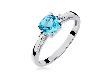Gold engagement ring with topaz and Eugenie diamonds 0.030 ct