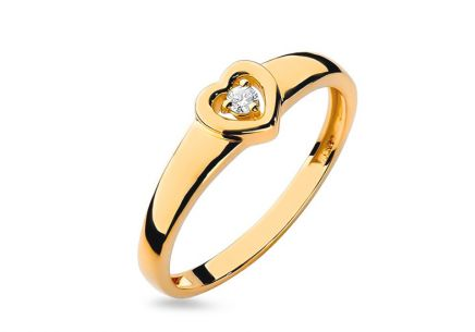 Gold heart engagement ring with diamond Emmelie 0.040 ct
