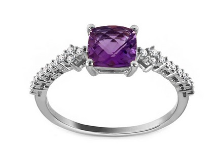Gold Ring with Amethyst and Diamonds Lélia