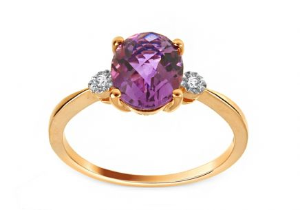 Gold Ring with Amethyst and Diamonds Wivine