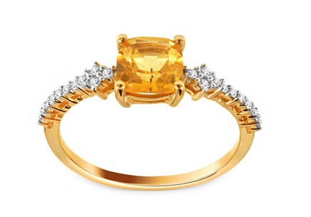 Gold Ring with Citrine and Diamonds Sylvie