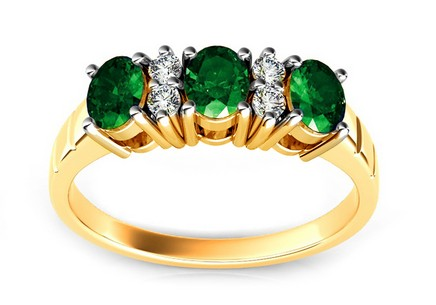 Gold Ring with Emeralds and Diamonds Yanis