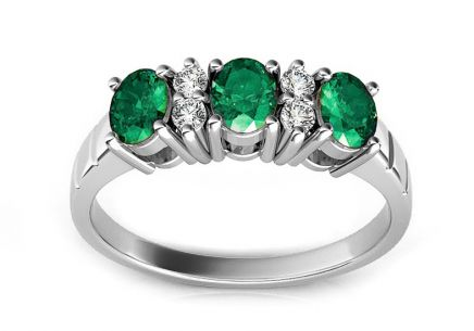 Gold Ring with Emeralds and Diamonds Yanis white
