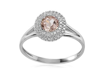 Gold ring with morganite and diamonds