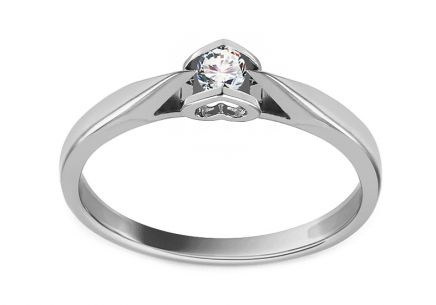 Gold Engagement Ring with Diamond 0.100 ct