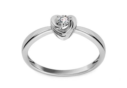 Heart engagement ring with 0.030 ct diamond Marisa made of white gold