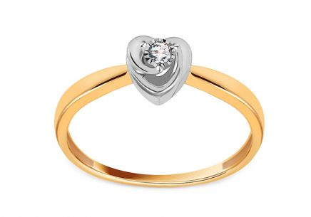 Heart Shaped Gold Engagement Ring with Diamond 0.030 ct Marisa 2