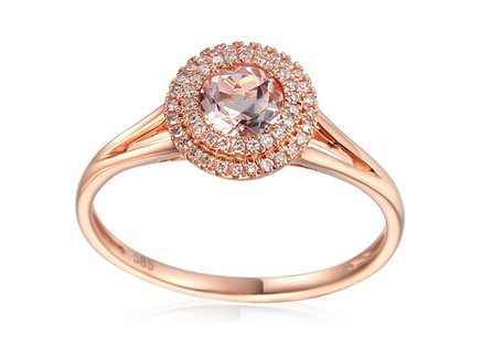 Morganite Ring with Diamonds Hayli