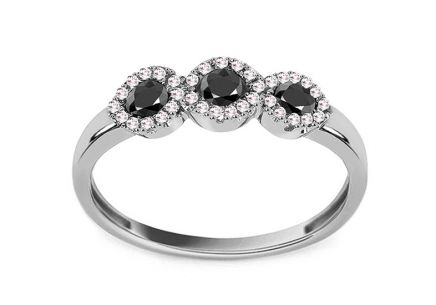 Ring with Black Diamonds Brisa 0.400 ct