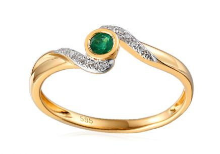 Ring with Brilliants 0,050 ct and Emerald