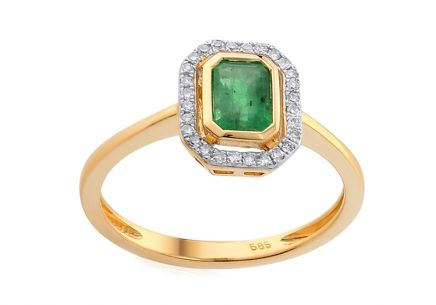 Ring with Emerald and Brilliants 0,120 ct