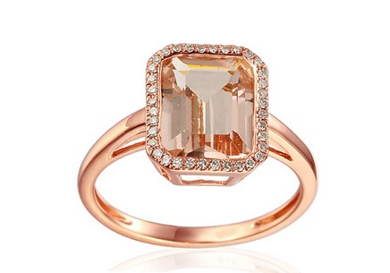 Ring with Morganite and Diamonds Gloire