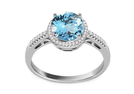 Ring with Topaz and Diamonds 0.090 ct Maricela white