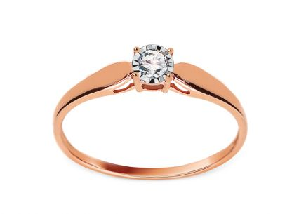 Rose and White Gold Engagement Ring with Diamond 0.080 ct Idalis