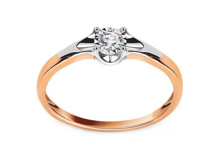 Rose and White Gold Engagement Ring with Diamond 0.100 ct Andria