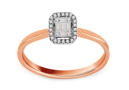 Rose Gold Engagement Ring with Baguette Diamonds 0.090 ct Esme
