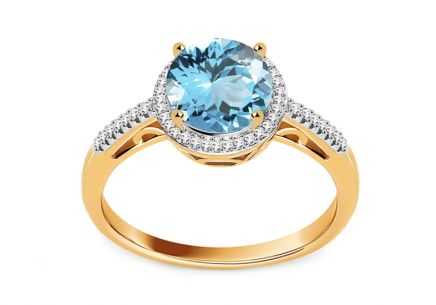 Topaz Ring with Diamonds 0.090 ct Maricela