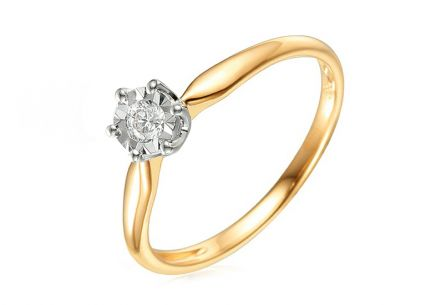 Two tone diamond Engagement ring 0.100 ct
