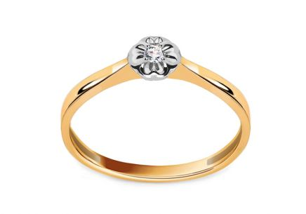 "Two-Tone Gold Engagement Ring with Diamond 0.030 ct ""Lyanna"""