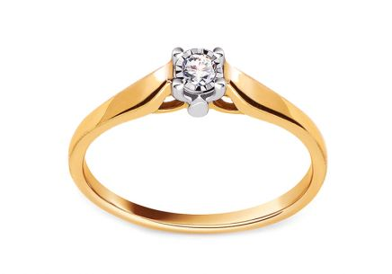 "Two-Tone Gold Engagement Ring with Diamond 0.060 ct ""Kimbra"""