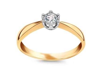 Two Tone Gold Engagement Ring with Diamond 0.100 ct