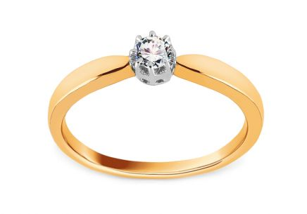 Two Tone Gold Engagement Ring with Diamond 0.125 ct