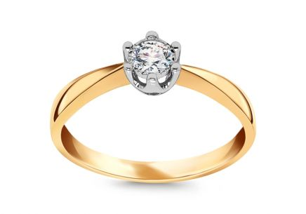Two Tone Gold Engagement Ring with Diamond 0.150 ct