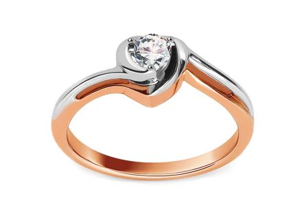 "Two-Tone Gold Engagement Ring with Diamond 0.150 ct ""Etos 1"""