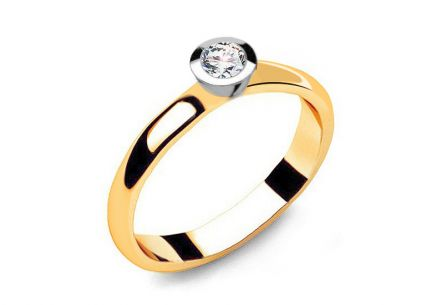 "Two-Tone Gold Engagement Ring with Diamond 0.150 ct ""Power of love 6"""