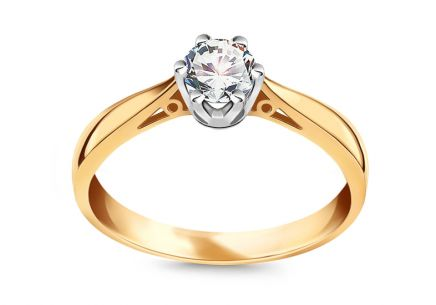 Two Tone Gold Engagement Ring with Diamond 0.400 ct