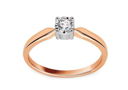 White and Rose Gold Engagement Ring with Diamonds 0.100 ct