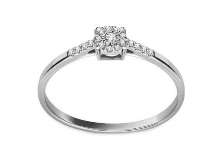White Gold Brilliant Engagement Ring 0.060 ct
