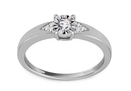 White Gold Brilliant Engagement Ring 0.100 ct