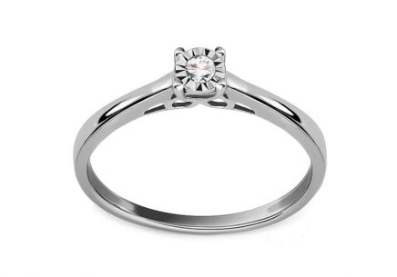 White Gold Diamond Engagement Ring 0.060 ct