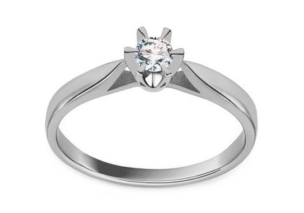 White Gold Diamond Engagement Ring 0.150 ct