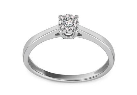 White Gold Engagement Ring 0.040 ct Levron