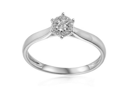 White gold engagement ring with 0.030 ct Lonna diamonds