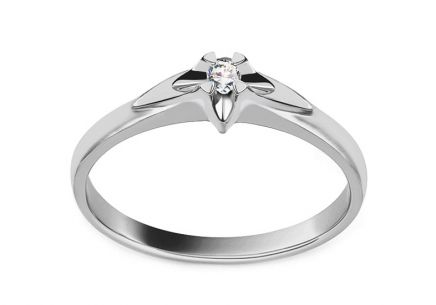 White gold engagement ring with 0.040 ct diamond Always collection