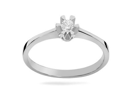 White gold engagement ring with 0.040 ct Haidee diamond