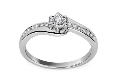 White gold engagement ring with 0.100 ct Ameline diamonds