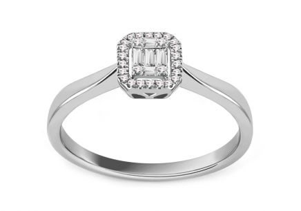 White Gold Engagement Ring with Baguette Diamonds 0.090 ct Esme