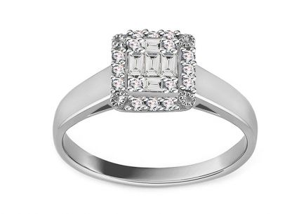 White Gold Engagement Ring with Baguette Diamonds 0.290 ct