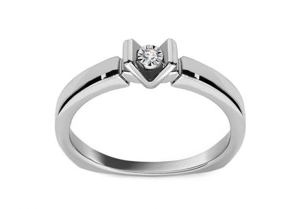 White Gold Engagement Ring with Diamond 0.010 ct Idella white 2