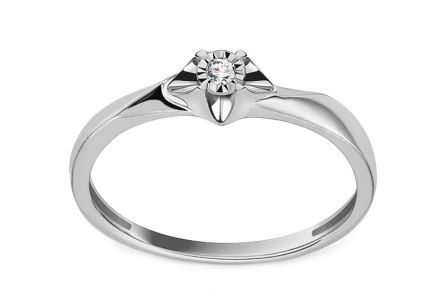 White Gold Engagement Ring with Diamond 0.020 ct Niobe
